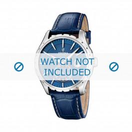 Festina cinturino orologio F16486/6 Pelle Blu 23mm + cuciture bianco