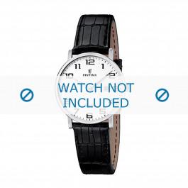 Festina cinturino dell'orologio F16477-1 / F16477-3 Pelle di coccodrillo Nero 16mm + cuciture nero