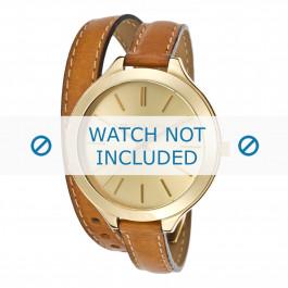 Michael Kors cinturino dell'orologio MK2256 Pelle Cognac 12mm + cuciture marrone