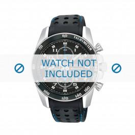 Seiko cinturino orologio SNAE79P1 / 7T62-0KV003B / L01M014J0 Pelle Nero 22mm + cuciture blu