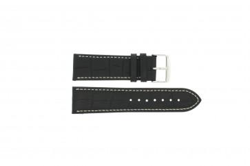 Cinturino orologio in pelle di vitello di bufalo, nero con cuciture bianche, 24mm 518