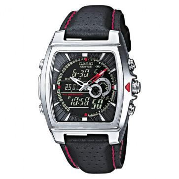 Casio cinturino orologio 10224471 Pelle Nero 17mm + cuciture rosso