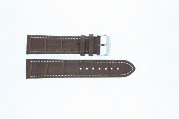 Cinturino orologio in pelle di vitello di bufalo, marrone medio con cuciture bianche, 22mm 518