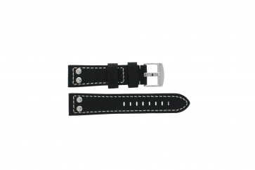 Tzevelion cinturino dell'orologio Tzev.2844.01 Pelle Nero 22mm + cuciture bianco