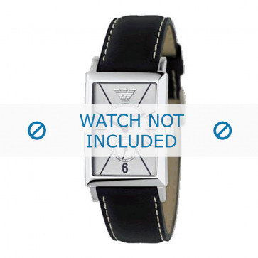Armani cinturino orologio AR-0129 Pelle Nero 20mm + cuciture bianco