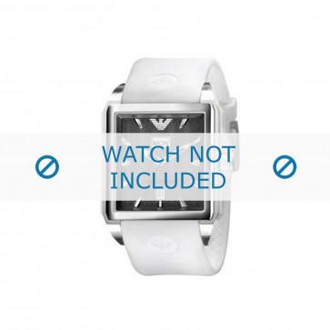 Armani cinturino dell'orologio AR0654 Gomma / plastica Bianco