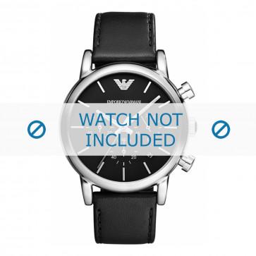 Armani cinturino dell'orologio AR1733 Pelle Nero 20mm + cuciture nero