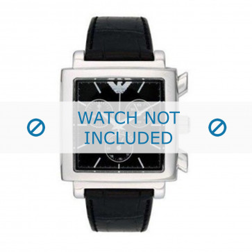 Armani cinturino dell'orologio AR5321 Pelle Nero 18mm + cuciture nero