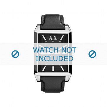 Armani cinturino orologio AX-2113 Pelle Nero 24mm + cuciture nero