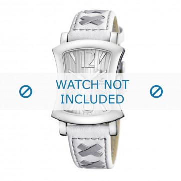 Calypso cinturino dell'orologio K5198-1 Pelle Bianco 17mm + cuciture grigio