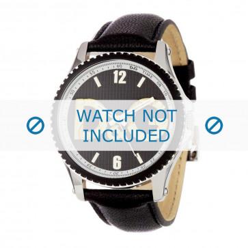 Dolce & Gabbana cinturino dell'orologio DW0707 Pelle Nero 20mm + cuciture nero