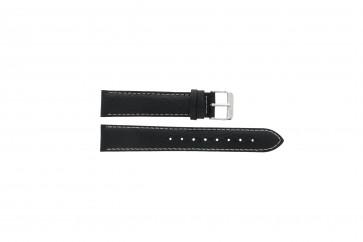 Davis cinturino dell'orologio B0902XL Pelle Nero 20mm + cuciture bianco