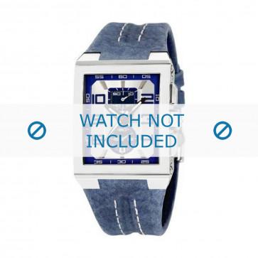 Festina cinturino orologio F16184/B Pelle Blu 18mm + cuciture bianco