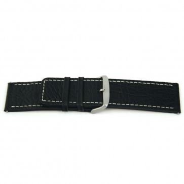 Cinturino orologio in vera pelle, nero con cuciture bianche, 26mm EX-H79