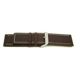 Cinturino orologio in vera pelle, marrone con cuciture bianche, 30mm H79
