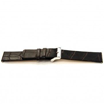 Cinturino orologio in pelle di vitello di bufalo, marrone scuro, 24mm J-53