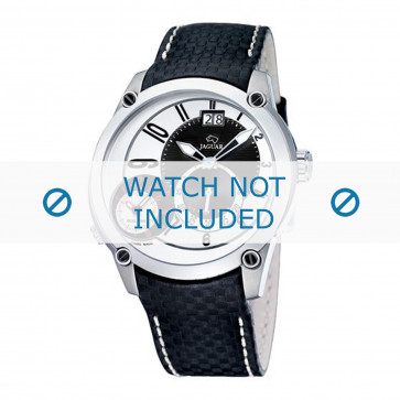 Jaguar cinturino dell'orologio J630/1 / J630/1 / J630/2 / J630/3 / J630/A / J630/B / J630/C / J630/D / J630/E / J630/F / J630/G / J630/H  Pelle Nero 24mm + cuciture bianco