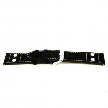 Cinturino orologio in vera pelle, nero, 24mm, 'struttura grezza' EX-K469