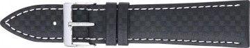 Cinturino orologio in carbonio, nero con cuciture bianche, 24mm 321