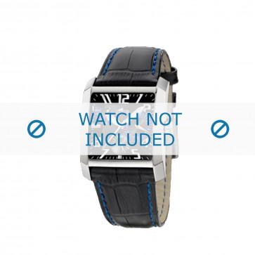 Lotus cinturino dell'orologio 15411.6 Pelle Nero + cuciture blu