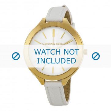 Michael Kors cinturino dell'orologio MK2273 / MK2273 Runway Slim Pelle Bianco 12mm + cuciture di default
