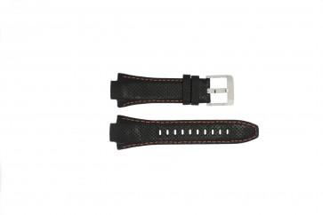 Seiko cinturino dell'orologio 7L22-0AE0 / SNL017P1 / 4KG8JZ /SNL021P9 Pelle Nero 15mm + cuciture arancione