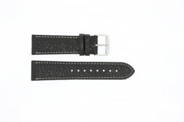 Cinturino dell'orologio 307.01 Pelle Nero 22mm + cuciture bianco