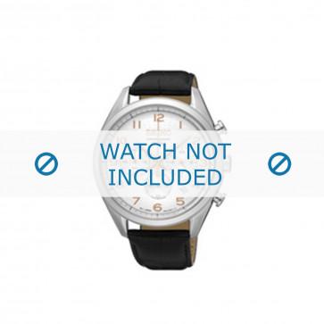 Seiko cinturino dell'orologio SSB227P1 / 8T63 00C0 Pelle Nero 20mm + cuciture nero
