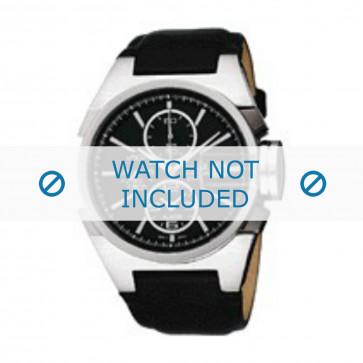 Seiko cinturino dell'orologio YM62-X156 Pelle Nero 18mm + cuciture nero
