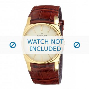 Cinturino per orologio Skagen 759LGL Pelle di coccodrillo Cognac 23mm