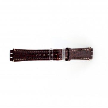 Cinturino orologio in vera pelle di coccodrillo per Swatch, marrone, 19mm ES- 2.02