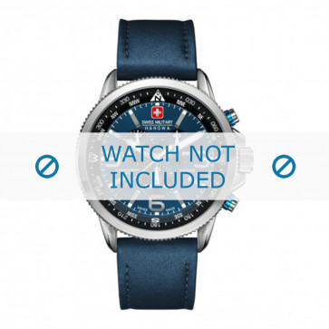 Swiss Military Hanowa cinturino dell'orologio 06-4224.04.003 Pelle Blu 22mm + cuciture blu