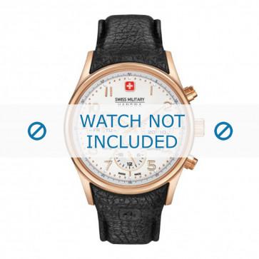 Cinturino per orologio Swiss Military Hanowa 06-4278.09.001-Rosé Buckle Pelle Nero 24mm