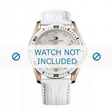 Tommy Hilfiger cinturino dell'orologio TH-63-3-34-0781 / TH1780835 Pelle Bianco + cuciture bianco