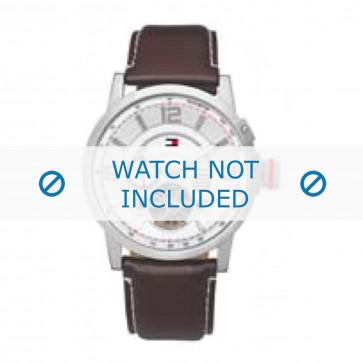 Tommy Hilfiger cinturino dell'orologio TH-66-1-14-0758 / TH1710174 / TH1710173 Pelle Marrone + cuciture bianco