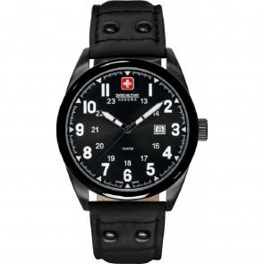 Cinturino per orologio Swiss Military Hanowa 06-4181.13.007-Buckle-Studs-Black Pelle Nero 22mm
