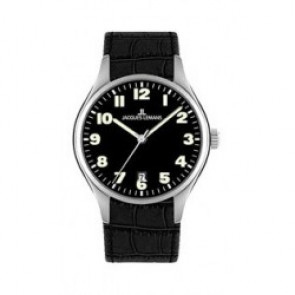Cinturino per orologio Jacques Lemans 1-1426 Pelle di coccodrillo Nero