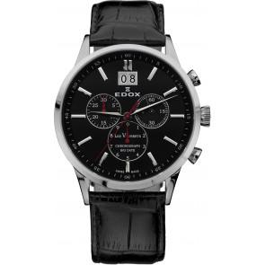 Cinturino per orologio Edox 10010-473282-222194 Pelle Nero 21mm