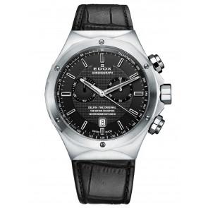 Edox cinturino dell'orologio 10107 Pelle Nero + cuciture nero