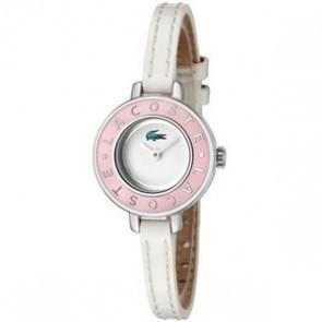Lacoste cinturino dell'orologio LC-15-3-14-0083 / 2000390 Pelle Bianco 6mm + cuciture bianco