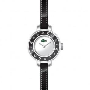 Lacoste cinturino dell'orologio LC-15-3-14-0084 / 2000391 Pelle Nero 6mm + cuciture nero