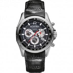 Roamer cinturino dell'orologio 220837-49-25-02 Pelle Nero 22mm + cuciture di default
