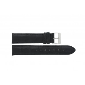 Edox cinturino dell'orologio 27028-2 (Staal) Pelle Nero 17mm + cuciture di default