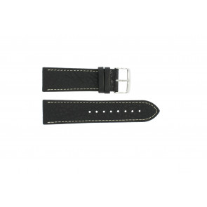 Cinturino dell'orologio 307.01 Pelle Nero 18mm + cuciture bianco