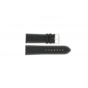 Cinturino orologio in pelle di vitello di bufalo, nero con cuciture bianche, 24mm PVK-518xl