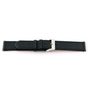 Cinturino orologio in vera pelle, nero con cuciture, 18mm EX-J46