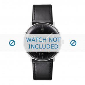Junghans cinturino dell'orologio 027/3400.00 Pelle Nero 20mm + cuciture di default