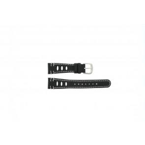 Lorus cinturino dell'orologio 19x14 Pelle Nero 19mm + cuciture bianco