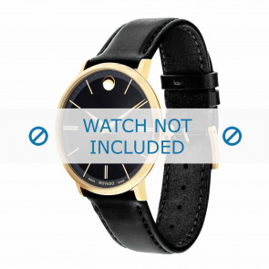 Movado cinturino dell'orologio 0607087 Pelle Nero 20mm + cuciture di default