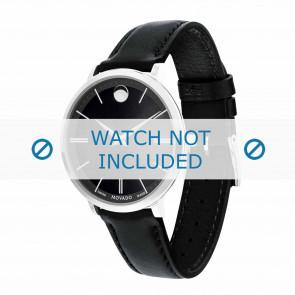 Movado cinturino dell'orologio 0607090 Pelle Nero 16mm + cuciture di default